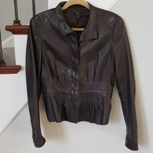 cf88fd64f6 Hugo Boss · Hugo boss womens dark brown leather jacket